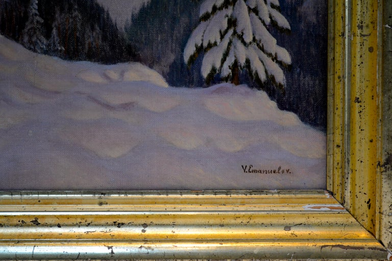 Other Sunset Alpine Winter Scene by Russian Artist Victor Emanuelov For Sale
