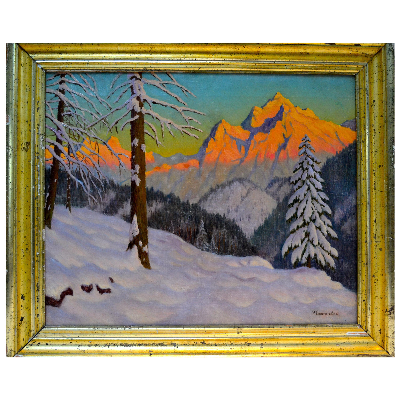 Sunset Alpine Winter Scene by Russian Artist Victor Emanuelov