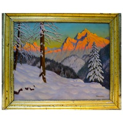 Sunset Alpine Winter Scene by Russian Artist Victor Emanuelov
