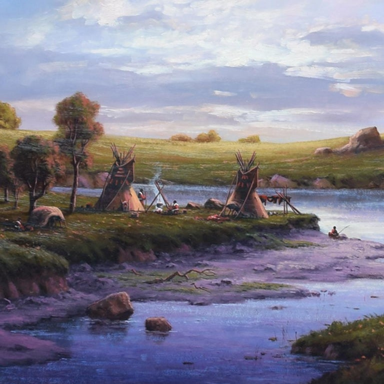 Sunset at the River Camp by Heinie Hartwig In Excellent Condition For Sale In Coeur d'Alene, ID