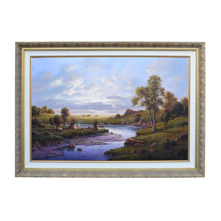 Sunset at the River Camp by Heinie Hartwig For Sale