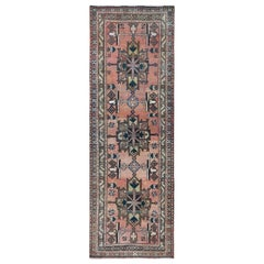 Sunset Colors Hand Knotted Clean Persian Heriz Old Organic Wool Worn Down Rug
