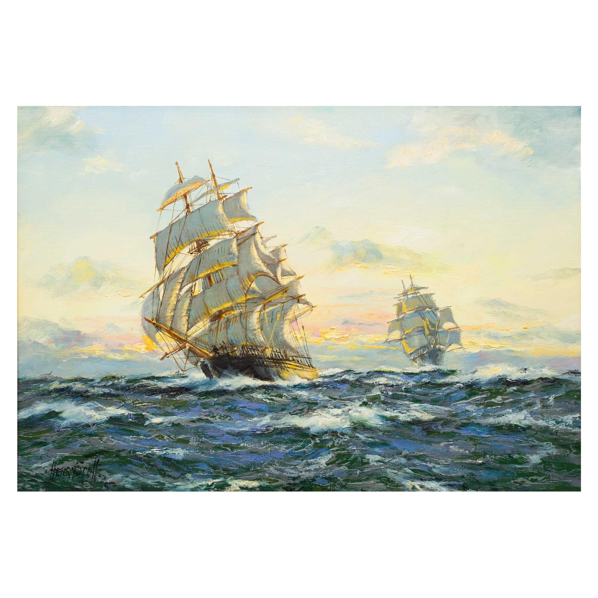 """""""Sunset - Far Pacific"""" Marine Seascape Painting of Clipper Ship by Henry Scott"""