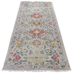 Sunset Rosettes Pure Silk and Wool Runner Hand Knotted Oriental Rug