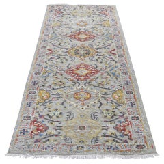 Sunset Rosettes Pure Silk & Wool Runner Hand-Knotted Oriental Rug