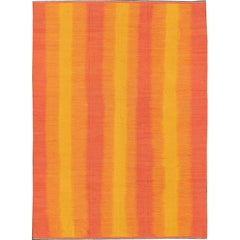 Sunset Striped Afghan Kilim Rug in Yellow, Orange, Pink