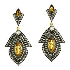 Sunshine Citrine and Diamond Drop Earring in Silver and 18k Gold