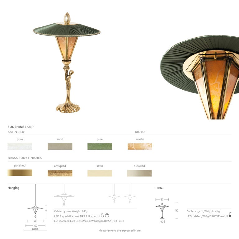"""Paper """"Sunshine"""" Contemporary Table Lamp, Kyoto washi ,Silk, cast melted Brass For Sale"""