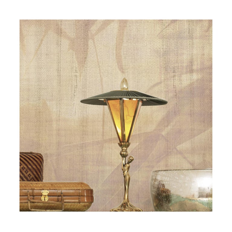"""""""Sunshine"""" Contemporary Table Lamp, Kyoto washi ,Silk, cast melted Brass For Sale 4"""