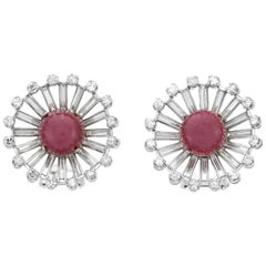 Sunshine Platinum with Ruby and Diamond Earring