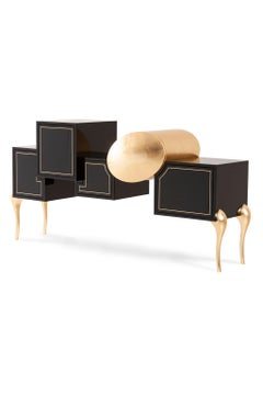 Sunshine Sideboard Black Lacquered Gold Leaf Applied by Hand Polished Brass