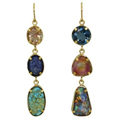 Sunstone, Lapis and Topaz Multi-Gemstone 22 Karat Gold Dangle Earrings