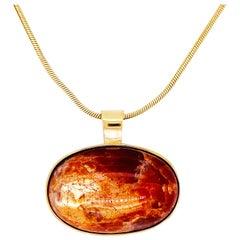 Sunstone Pendant Necklace, 14k Gold Pendant, Genuine Oregon Sunstone w Chain