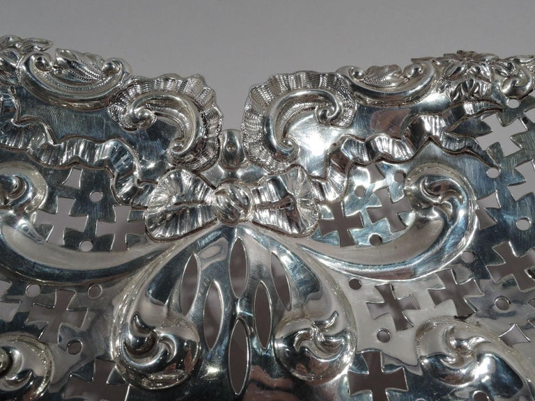 Edwardian Super Big and Super Romantic Sterling Silver Heart Bowl by Gorham For Sale