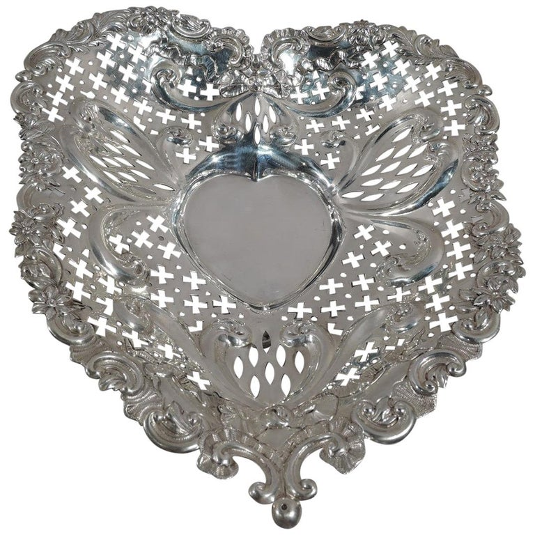 Super Big and Super Romantic Sterling Silver Heart Bowl by Gorham For Sale