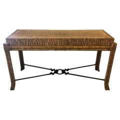 Super Chic Large Designer Bamboo & Travertine Console Table
