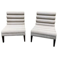 Super Chic Pair of Mid-Century Modern Channel Back Slipper Chairs