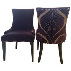 Super Chic Pair of Purple Mohair and Cut Velvet Dining or Livingroom Chairs