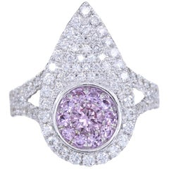 Super Cluster Pink Sapphire Ring 18 Karat White Gold and Diamonds