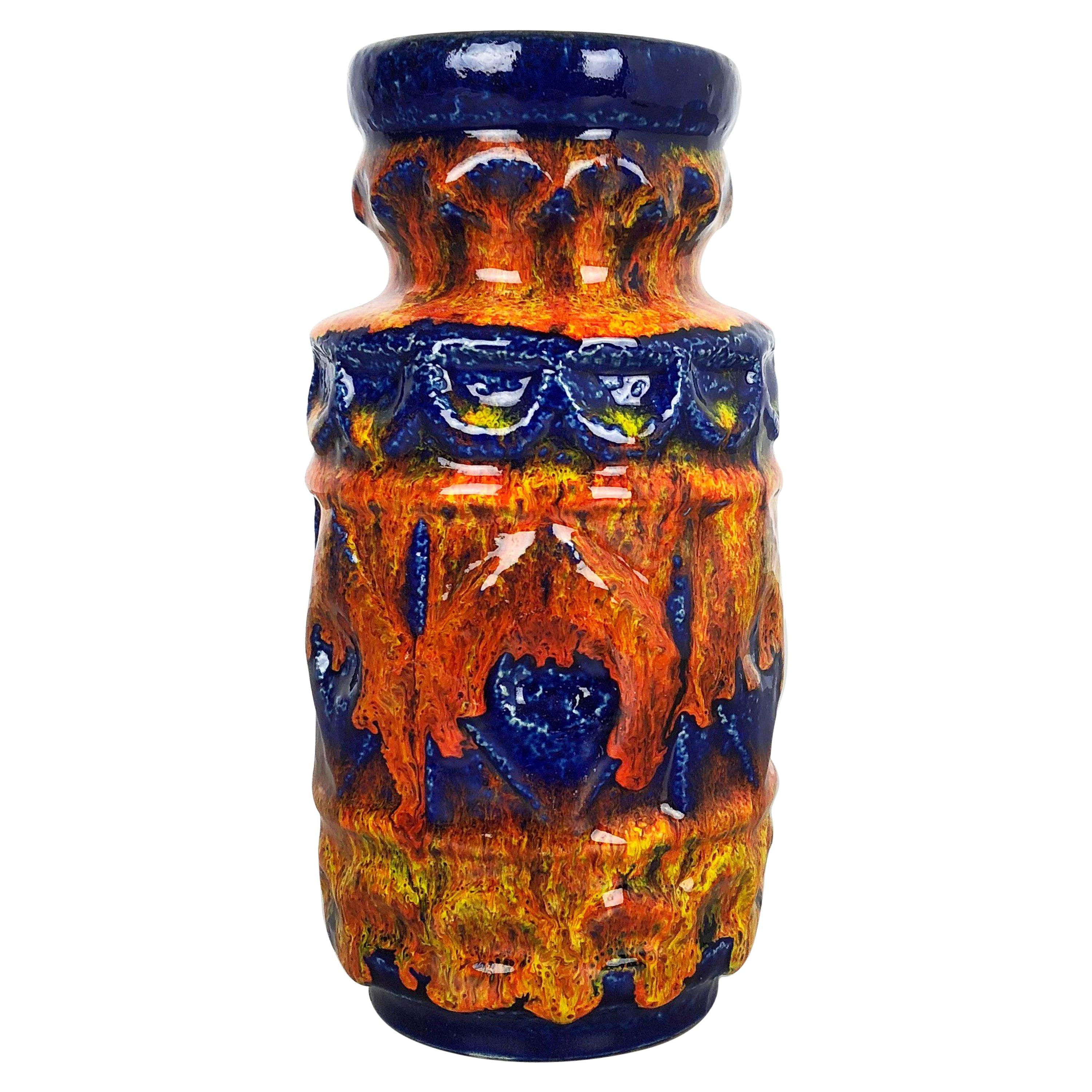 Super Colorful Fat Lava Pottery Vase by Bay Ceramics, Germany, 1950s