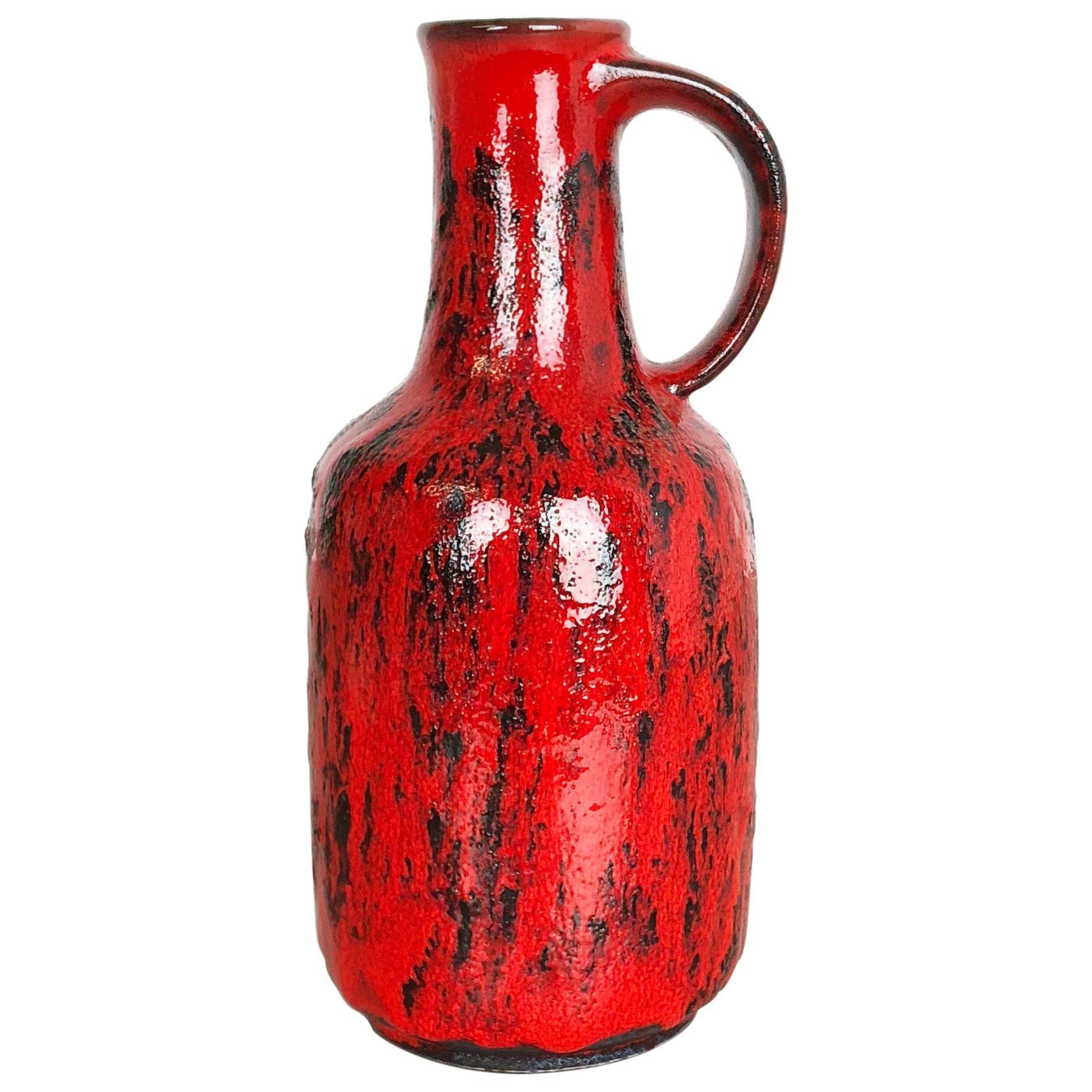 Super Colorful Fat Lava Pottery Vase by Gräflich Ortenburg, Germany, 1950s
