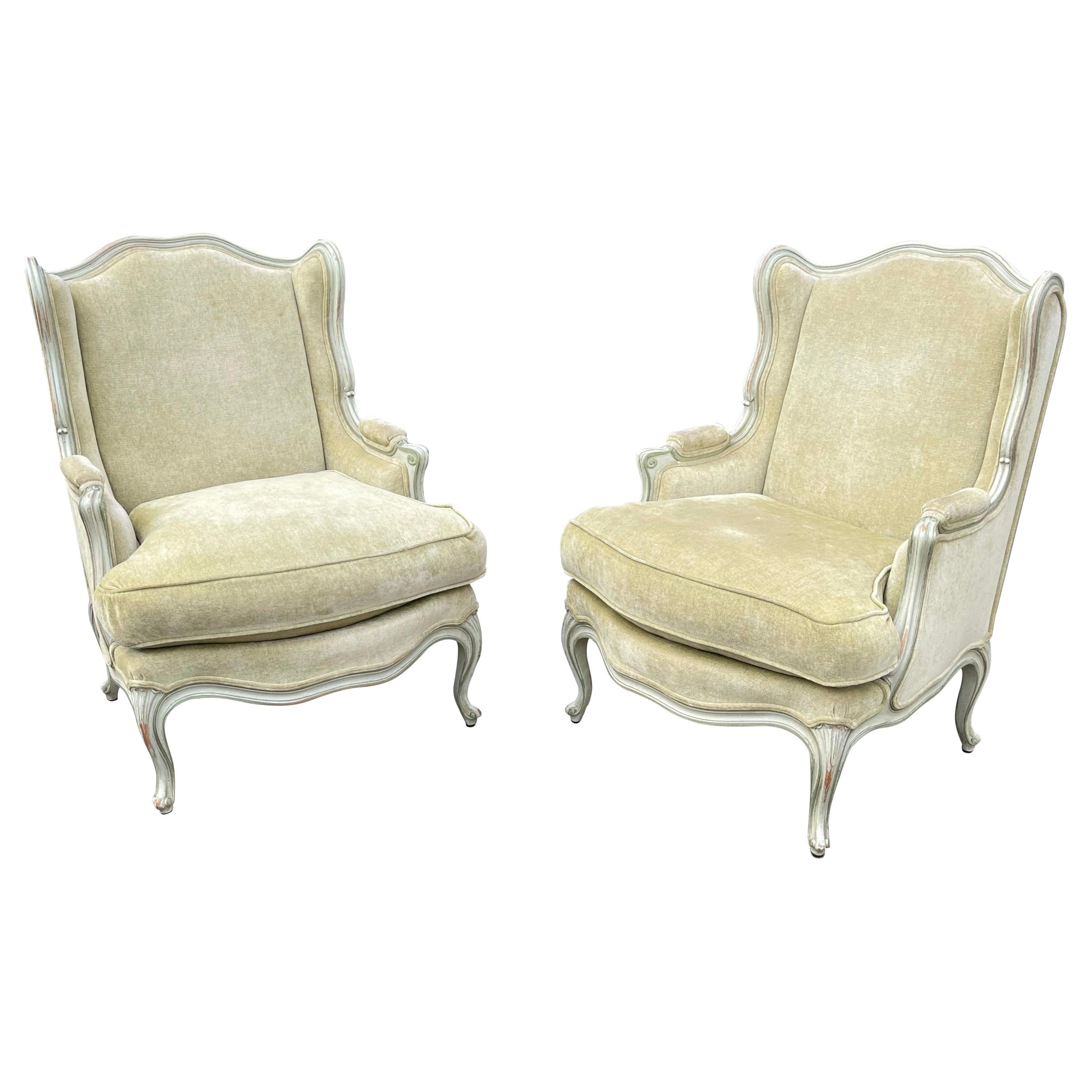 Super Comfortable and Top Quality Made Pair of Louis XV Style Wingback Armchairs
