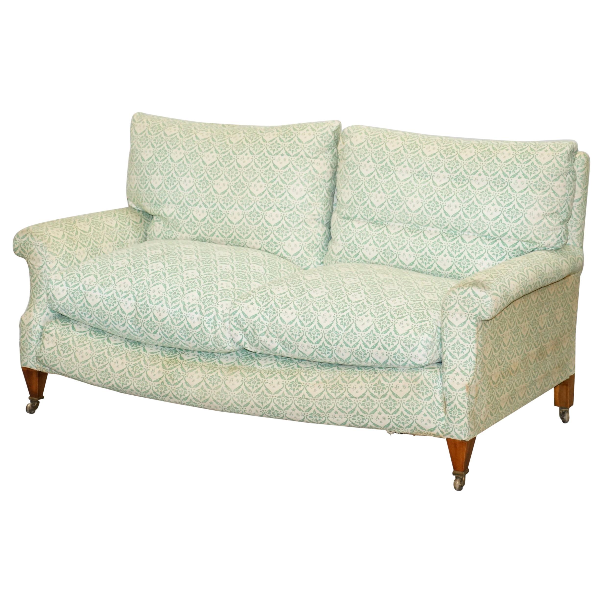 Super Comfortable circa 1920 Howard & Son's Lenygon & Morant Ticking Fabric Sofa