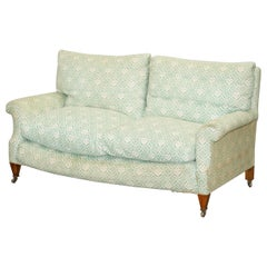 Super Comfortable circa 1920 Howard & Son's Lenygon & Morant Ticking Fabric Sofa