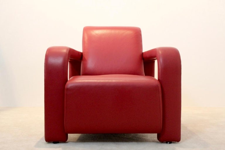 Italian Super Comfortable Pair of Marinelli Red Leather Armchairs, Italy For Sale