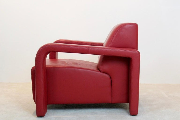 20th Century Super Comfortable Pair of Marinelli Red Leather Armchairs, Italy For Sale
