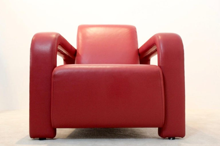 Super Comfortable Pair of Marinelli Red Leather Armchairs, Italy For Sale 2