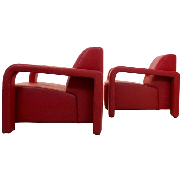 Super Comfortable Pair of Marinelli Red Leather Armchairs, Italy For Sale