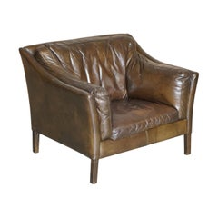 Super Comfortable Timothy Oulton Halo Reggio Brown Leather Armchair Love Seat