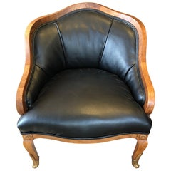Super Comfy French Apartment Sized Mahogany and Faux Leather Club Chair
