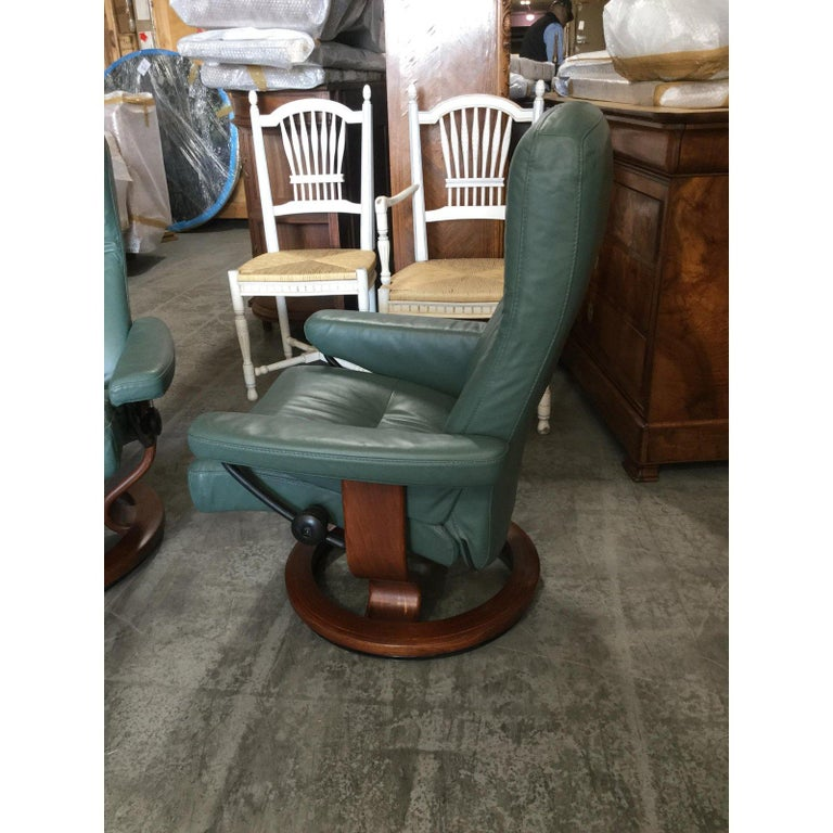 Swedish Super Cool Mid-Century Modern Stressless Chairs with Ottomans For Sale