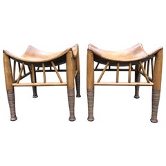 Super Cool Pair of Liberty of London Style Wooden Thebes Stools