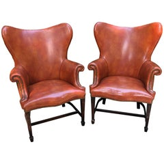 Super Cool Pair of Sleek Faux Leather Midcentury Modern Wingback Club Chairs