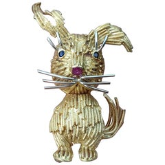 Super Cute Brooch in Yellow and White Gold Rabbit