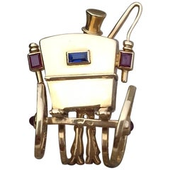 Super Cute Brooch Rear of a carriage and coachman MELLERIO dits MELLER Gold 18k