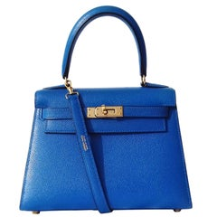 Super Cute Hermes Mini Kelly Sellier Bag Blue Courchevel Leather GHD 20 cm