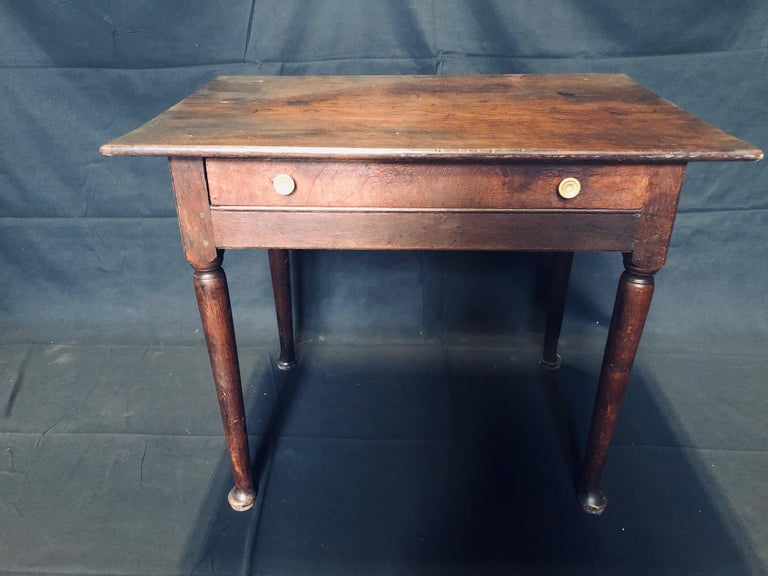 Wonderful antique oak side table with bronze knobs - can serve as nightstand or side table. Gorgeous bronze knobs not original to piece. 
