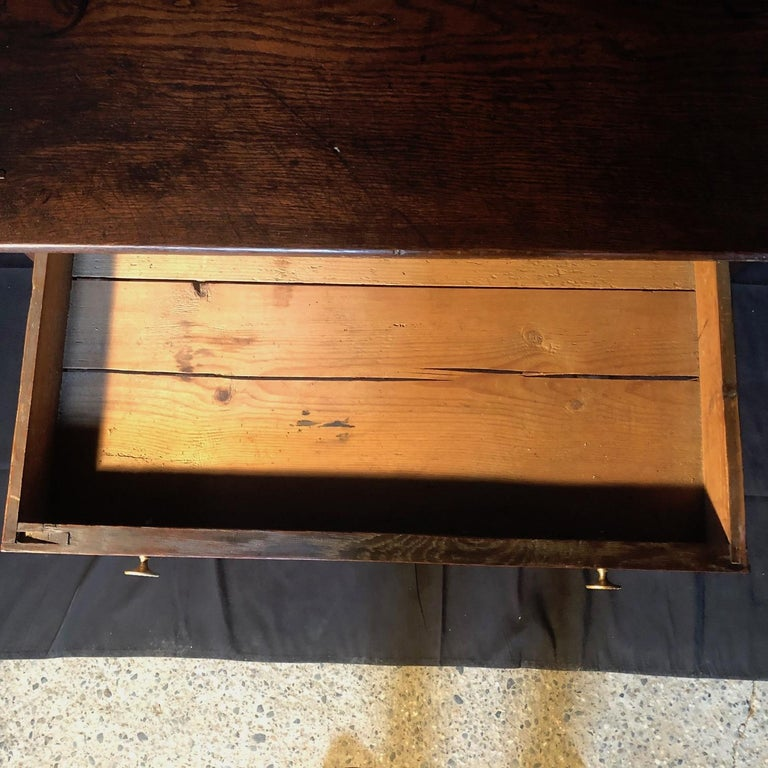 19th Century Super Early Continental Oak Side Table or Nightstand For Sale