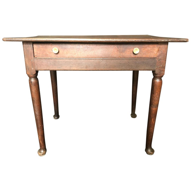 Super Early Continental Oak Side Table or Nightstand For Sale