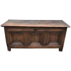 Super Early Large British Oak Coffer Trunk Dated 1591