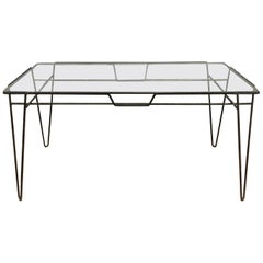Super Elegant Dining Table, Black Metal Hairpin Legs and Glass Top, circa 1960