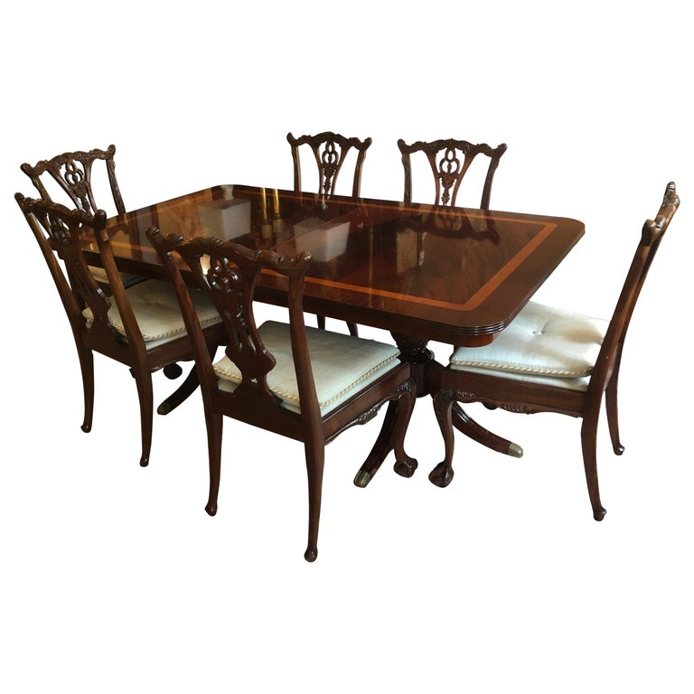 Dining Table 6 Chairs Sale: Super Elegant Georgian Style Dining Table With 6