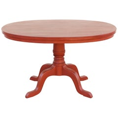 Custom Orange Painted Pedestal Table, Made to Order by Petersen Antiques