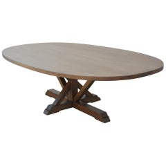 Super Ellipse Pedestal Dining Table Made from Rift Sawn Oak