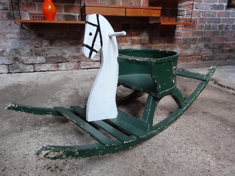 Arts and Crafts Super French Vintage 1920 Antique Painted Rocking Horse For Sale