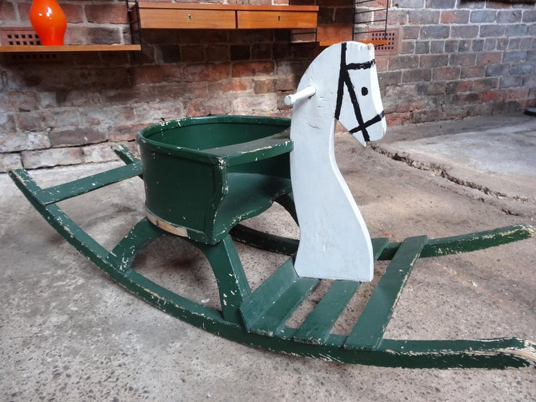 Super French Vintage 1920 Antique Painted Rocking Horse In Good Condition For Sale In Cowthorpe, North Yorkshire